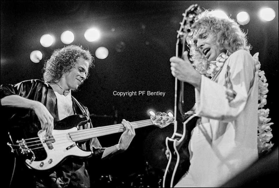Peter Frampton, right and Stanley Shelton, left perform at the Honolulu International Center Arena in 1976. The Honolulu International Center (HIC) has now been re-named the Neil S. Blaisdell Arena. ©PF Bentley/PFPIX.com